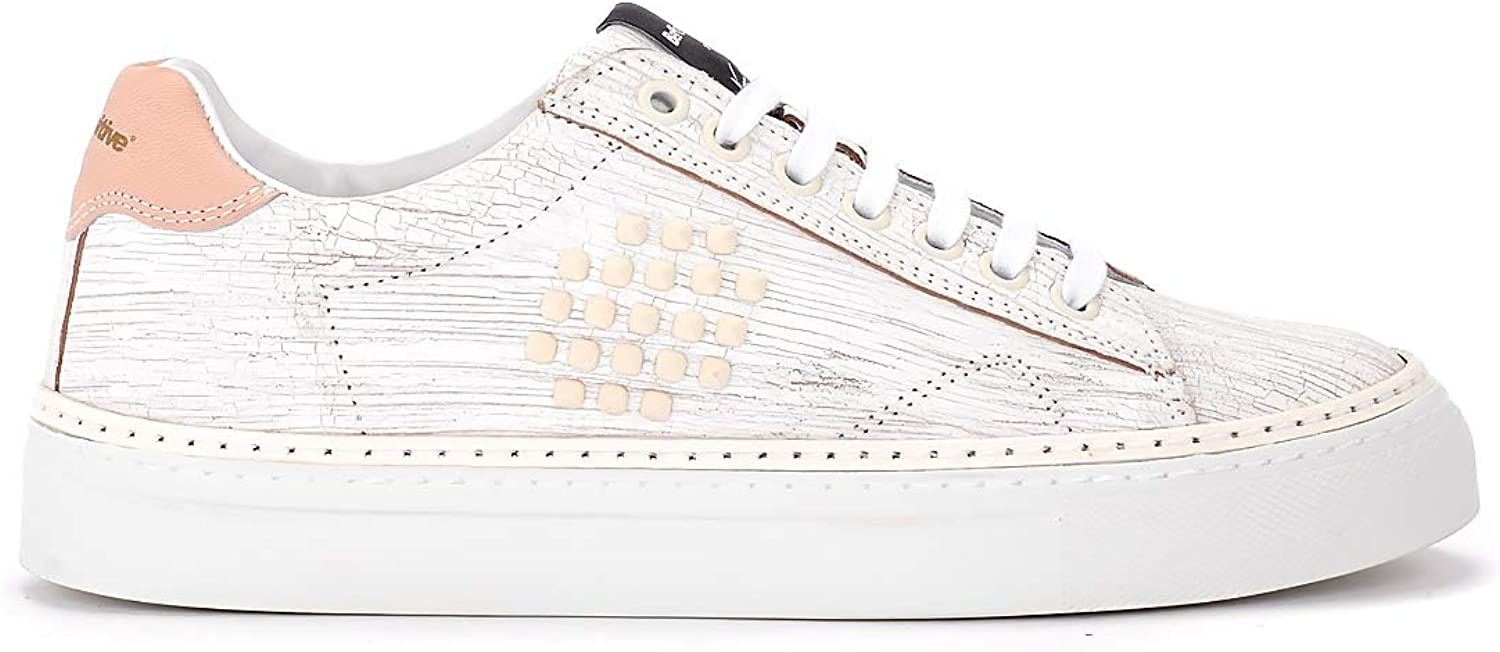 Be Positive Woman's Bepositive X Veecious Track02 White Scratched Leather Sneaker