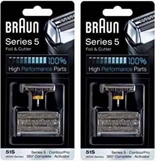 BRAUN 51S 8000 Series 5 360 Complete Activator ContourPro Shaver Foil & Cutter Head Replacement Pack, 2 Count