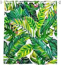 Goodbath Hookless Leaf Shower Curtain,Tropical Palm Leaves Banana Leaves Bath Curtains Waterproof Bathroom Curtains, 72 x ...