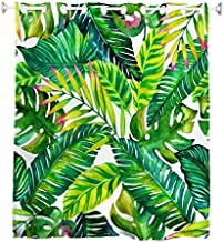 Goodbath Hookless Shower Curtains, Banana Leaves Palm Leaf Fabric Waterproof Fabric Bathroom Curtain Set Without Hooks, Green White
