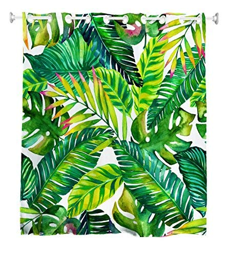 Goodbath Hookless Leaf Shower Curtain,Tropical Palm Leaves Banana Leaves Bath Curtains Waterproof Bathroom Curtains, 72 x 72 Inch, Green White