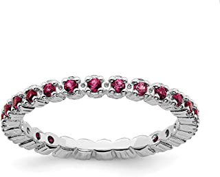 #4020R8M7 Sterling Silver Made in USA 2mm Ruby 3A CZ Stacking Ring Size 8 GP