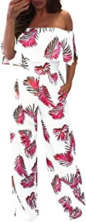 CUCUHAM Women Casual Off Shoulder Floral Leaf Printed Sparkly Capelet Loose Playsuit