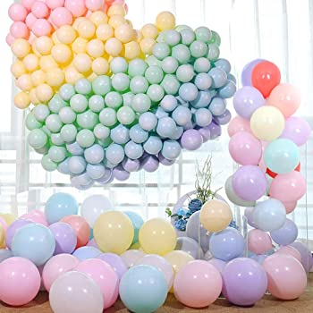 Zesliwy Pastel Colorful Latex Party Balloons,120 Pack 12 Inches Macaron Assorted Rainbow Balloons for Birthday Baby Shower Party Decoration