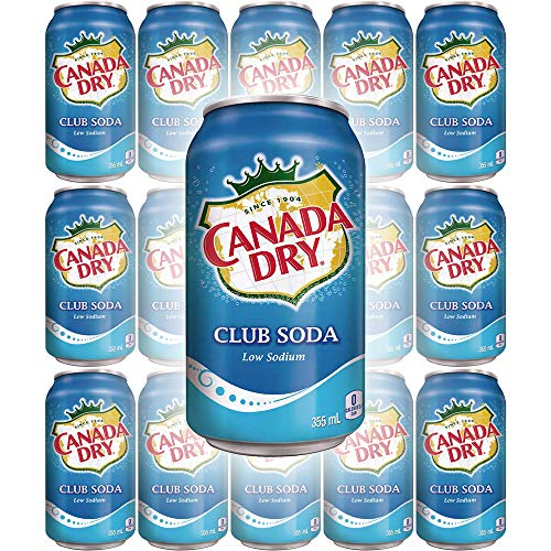 Canada Dry Club Soda Sparkling Seltzer Water, 12oz Can (Pack of 15, Total of 180 Oz)