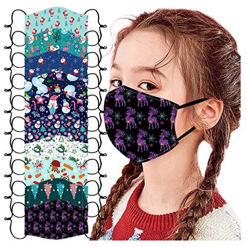 ZuzongYr Waschbar Kinder Mundschutz Staubdicht Maske Wiederverwendbar Mund-Nasen Bedeckung Atmungsaktiv Verstellbar Baumwolle Stoffmaske Halstuch Schal Mundschutz, 10er Pack