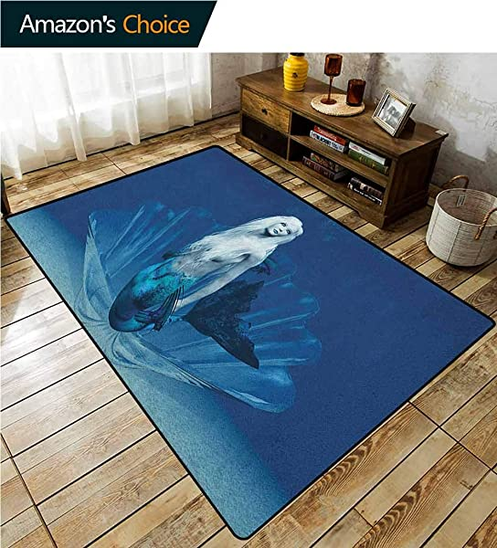 YucouHome Mermaid Floral Area Rug For Kids Room Realistic Mermaid Queen In Ocean Deep Waters Aquatic Fantasy Design Artwork Fashionable High Class Living Dinning Room 3 X 5 Blue And White