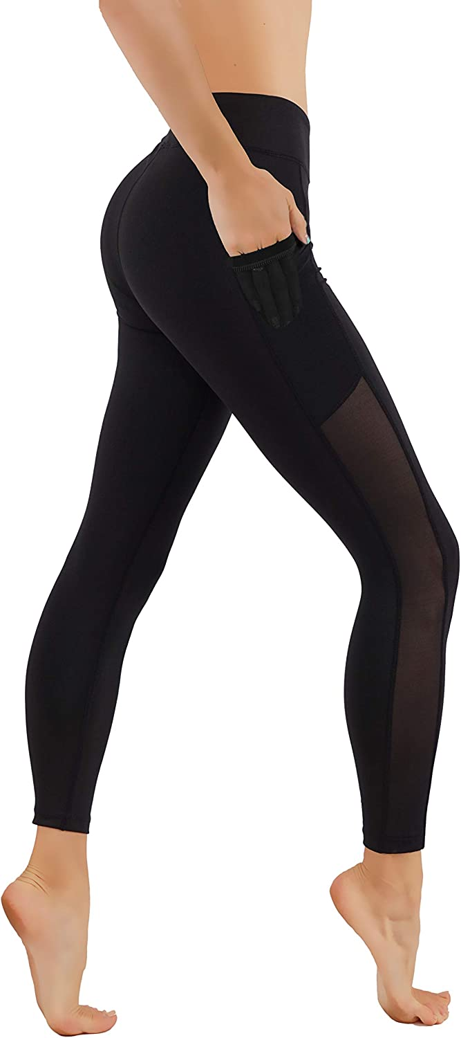 CodeFit Yoga Pants DryFit Cut Out Mesh Panels In Both Side With Pockets 7 8 Length Running Leggings Not Squat Proof