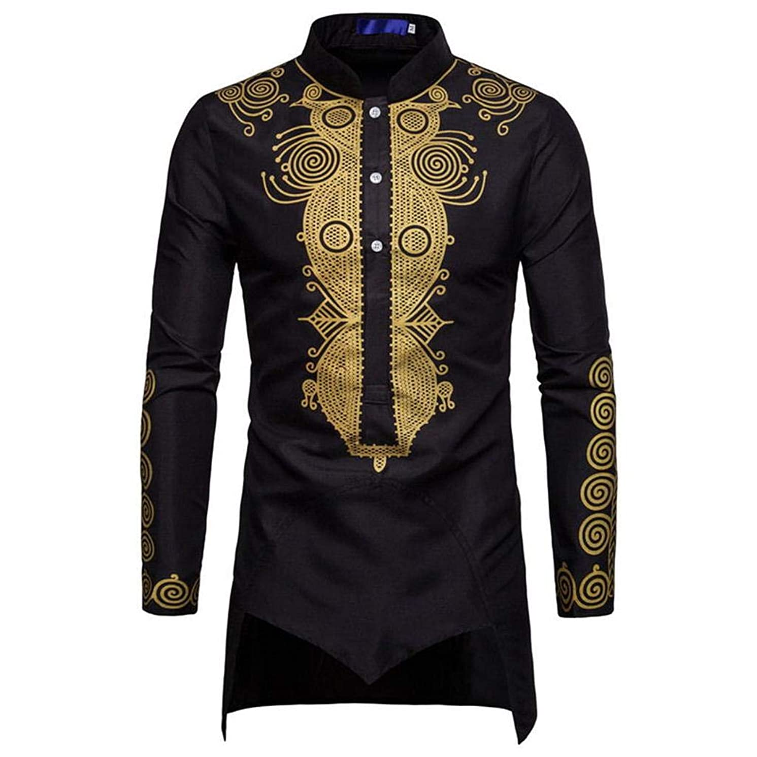 Luxfan US Plus Size Prime Mens Dashiki African Clothing Traditional Printed Long Henley Shirt