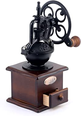 Foruchoice Manual Coffee Grinder Antique Cast Iron Hand Crank Coffee Mill With Grind Settings & Catch Drawer 12.5 x 12.5 x 26