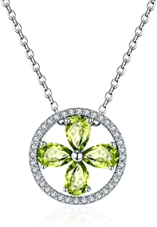 Women Necklace Natural Crystal Peridot Pendant Clover Item Pendant Ladies Jewelry Gifts Necklaces For Women Girls Chain Wi...