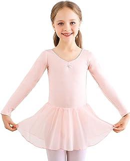 Bezioner Ballet Dress Ballet Leotards with Skirt Dance Tutu Short/Long Sleeve Skirted for Toddler Girls Kids