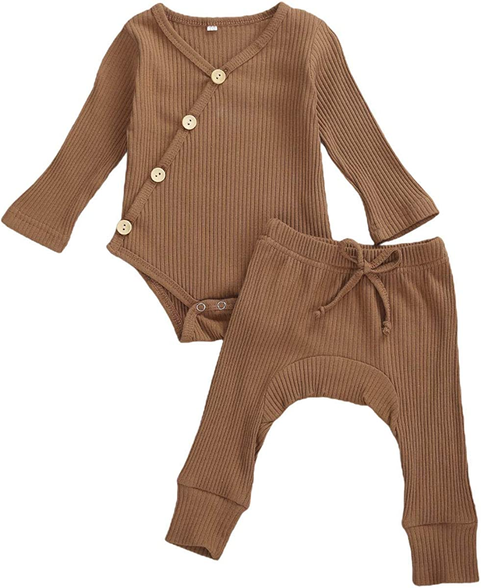 Newborn Unisex Baby Boy Girl Pajamas Long Sleeve Knitted Romper Bodysuit Top+Elastic Waist Pants 2PCS Ribbed Outfit Set