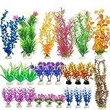 Cayway 25 Pz Plantas de Acuario Decoraciones Plantas Artificiales de Acuario, Plantas Acuáticas Artificiales para Decoración de Acuario
