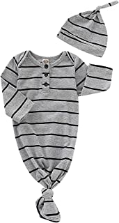 Koloyooya Newborn Baby Striped Gown Swaddle Wrap Knotted Sleepwear Sleeping Bags with Headband Hat (Grey, 70(0-6 Months))