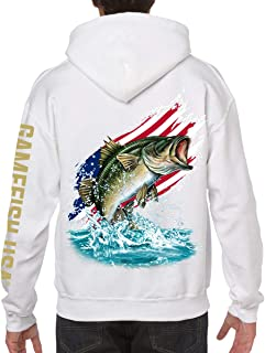 GAMEFISH USA Pullover Fleece Hooded Fishing Sweatshirt Bass Fishing Hoodie American Flag