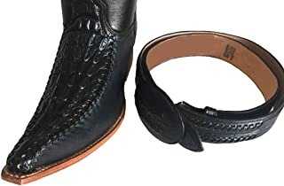 Mens Western Cowboy Leather Color Combination Crocodile Print Boots/Free Belt