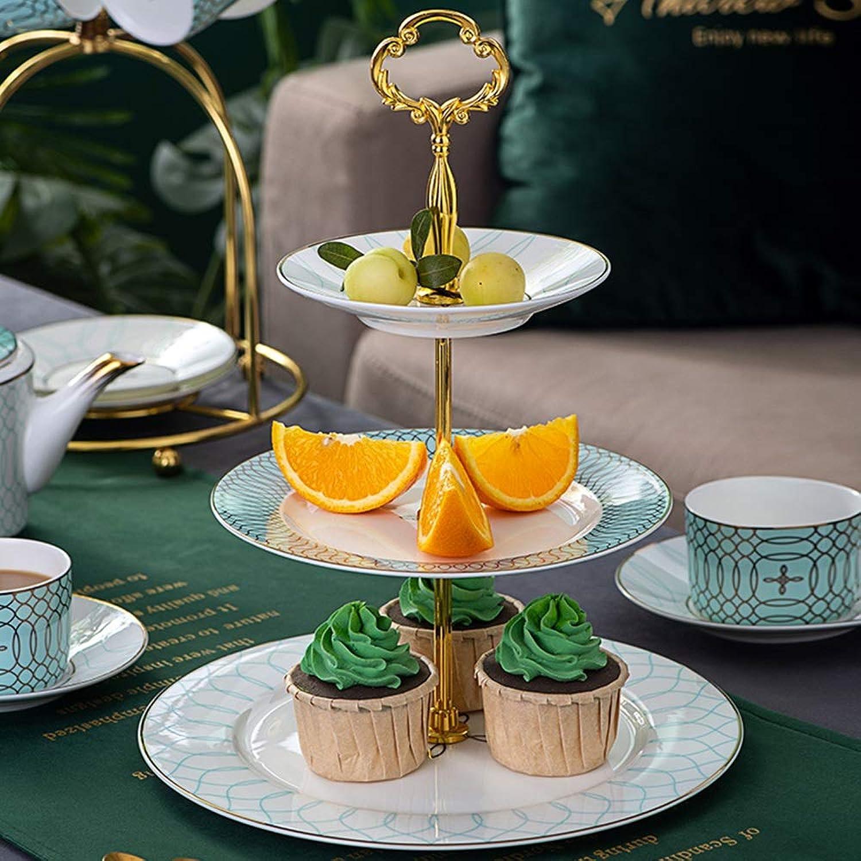 FeiQiangQiang Plateau de fête, support de gateaux en céramique à trois couches double couche, plateau de fête d'anniversaire de desserts de fruits vertical plateau de thé, décoration Casier à nourritu