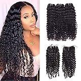 Brazilian Deep Wave Bundles with Closure Unprocessed Brazilian Virgin Human Hair Deep Curly Bundles Weave with Lace Closure Natural Black (10 12 14+10 Closure) 70g/Bundle