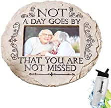 HomeCricket Gift Included- Garden Memorial Remembrance Tribute Photo Stone Plaque Not a Day Goes By + FREE Bonus Water Bottle by
