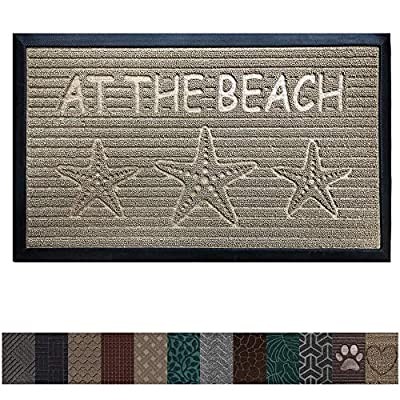 The Original GORILLA GRIP Durable All-Natural Rubber Door Mat, Indoor Outdoor, 2 Sizes and 8 Colors, Large Size, Waterproof, Low-Profile, Easy-To-Clean, Beautiful Colors and Patterns