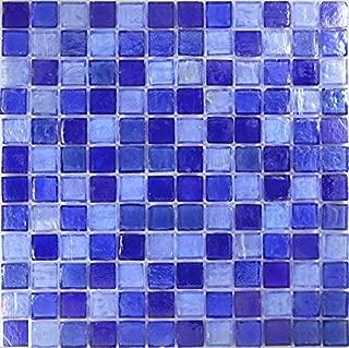Light Blue Blend Glass Tile Mosaic, Textured Iridescent Glass Tile 1