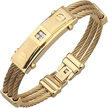 Pulsera de Titanium Enchapada en Oro 2018 Men Fashion Stainless Steel Wire Bracelets & Bangles For