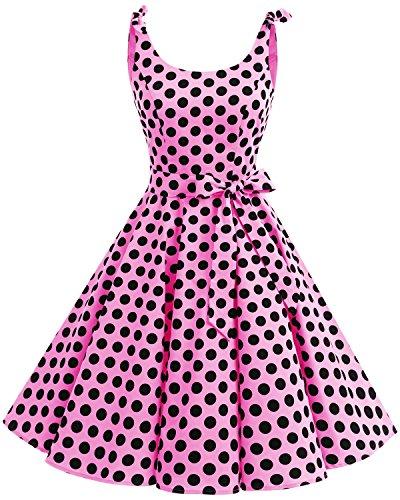 Bbonlinedress 1950er Vintage Polka Dots Pinup Retro Rockabilly Kleid Cocktailkleider Pink Black Big Dot XS
