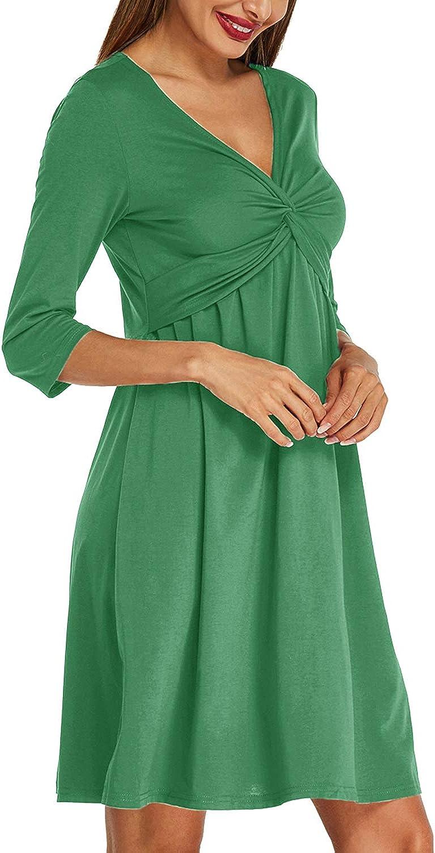 ACHIOOWA Womens Casual Party Midi Dress 3/4 Sleeve V Neck Twist Knot Front Flowy Empire Waist Tank Dress