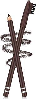 2 بسته مداد ابرو با برس نرم 2 در 1 مداد ابرو مقاوم در برابر آب و مداد ابرو و برس ابرو شکل دهنده و پر کننده مداد ابرو (قهوه ای تیره)