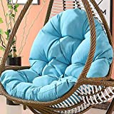 Wicker Rattan Hanging Egg Chair Pads,Non-Slip Soft Swing Chair Cushion Without Stand Indoor Balcony Pad Garden-Blue 120x86x15cm(47x34x6inch)