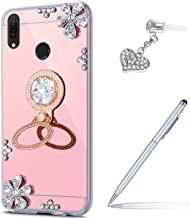 Case for Huawei Y7 Pro 2019 Diamond Case,Crystal Inlaid diamond Flowers Rhinestone Glitter Bling Mirror Back TPU Case & Ring Stand + Touch Pen Dust Plug for Huawei Y7 Pro 2019 Mirror Case,Rose Gold