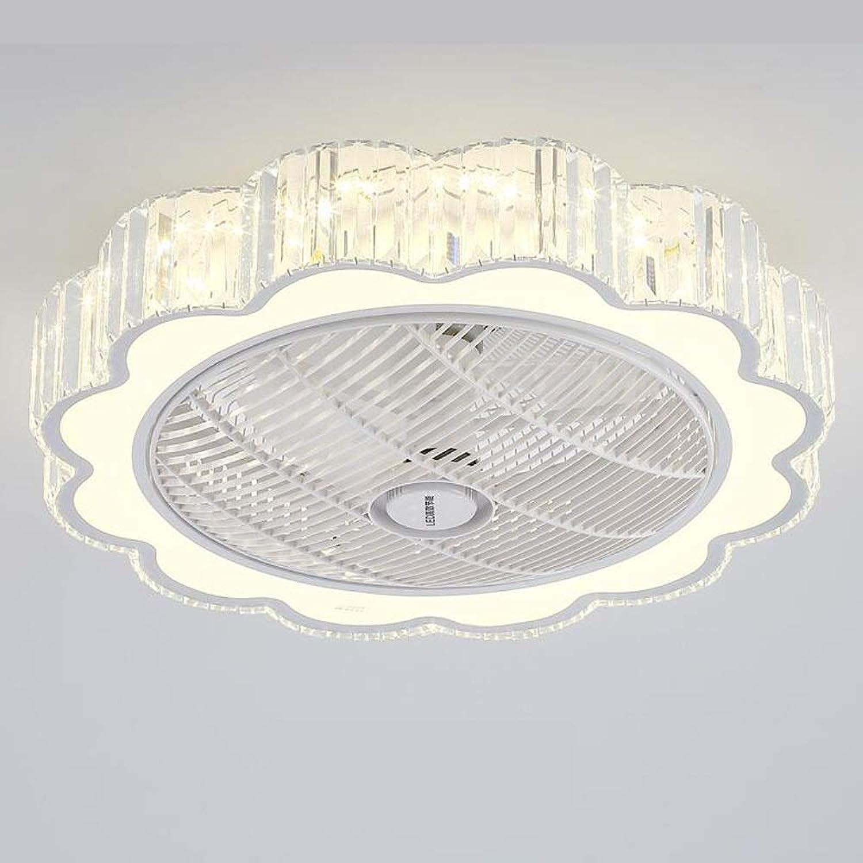 LED Unsichtbarer Deckenventilator Deckenleuchte Moderne weie Kristalllampe 36W Dimmbar mit Fernbedienung für Wohnzimmer Lampe Schlafzimmer Wohnzimmer Kinderzimmer Leise Fan Beleuchtung (60cm  25cm)