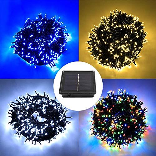 Luces solares de cadena LED, Decoloración del mando a distancia,impermeable, iluminación al aire libre_1000 luces en 50 metros (alta potencia con control remoto, energía solar, 8 funciones)