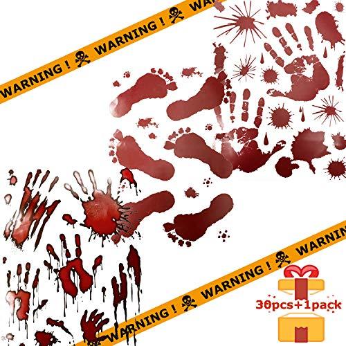 Weekend&Lifecan Blutige Handabdrücke Fußabdrücke Fensteraufkleber, Halloween deko, 3 Blatt Halloween blutige Sticker & Achtung Tape Set für Halloween Dekoration Party Cosplay Party