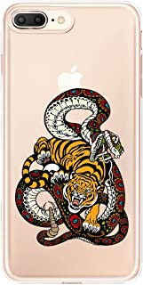 Lartin Clear Case for iPhone 8 Plus / iPhone 7 Plus / iPhone 6S Plus / iPhone 6 Plus (Snake and Tiger Tattoo)
