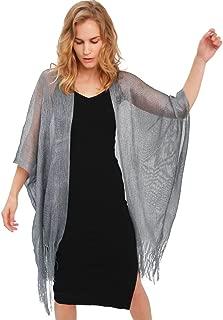 Womens Glitter Open Front Cardigans Sheer Metallic Long Kimono with Tassel