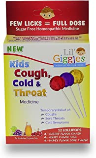 Lil Giggles Giggles Kid's Cough, Cold & Throat Medicated Lollipops Variety Pack For Children's Persistent Cough, Cold And ...