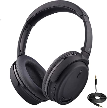 Avantree ANC032 Active Noise Cancelling Bluetooth Headphones with Mic, Wired or Wireless Option, Comfortable & Foldable Stereo ANC Over Ear Headset, Fast Stream Low Latency Ideal for Phone, PC & TV