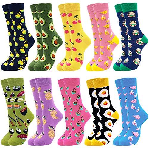 Belloxis Socken Damen Bunte Coole Lustige Socken Personalisierte Geschenke (Bunte- essen a1, 10)