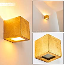 NOTO Wall Light in Golden Ceramic, Cubic Fixture for Bedroom, Hallway, Living Room - The lampshade Creates Light Effects on The Wall