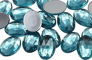 KraftGenius 14x10mm Blue Aqua Lite .QR120 Flat Back Oval Acrylic Rhinestones Tiny Face Gems Body Jewels Card Making Embeli...