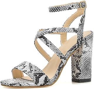 461df0ef43e4fd DDSHYNC Chaussures pour Femmes - Sandales à Talons épais - Escarpins à  Bouts Ouverts - Serpent