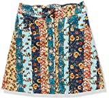 Amy Byer Girls' Button Front Skirt, Navy/Camel Floral Stripes, Large