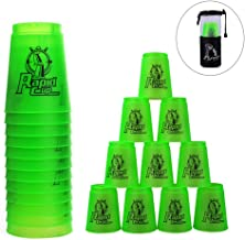 Erlsig Quick Stacks Cups 12 Pack of Sports Stacking Cups Speed Training Game Challenge Competition Party Toy with Carry Bag (New Green)