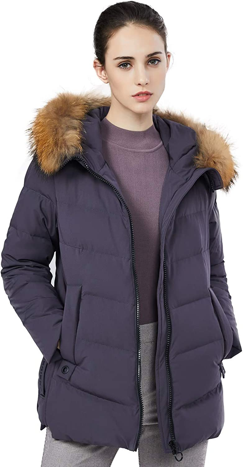 BOSIDENG Women's Down Jacket Female MidLong Loose Winter Down Coat Fur Collar Hooded Thick Outerwear Big Size Parka
