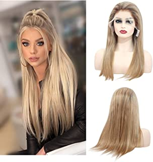 Long Lace Front Wigs Human Hair With Baby Hair Glueless 150% Density Free Part Ombre Balayage Remy Straight Wigs Bleached Knots(18 inches)