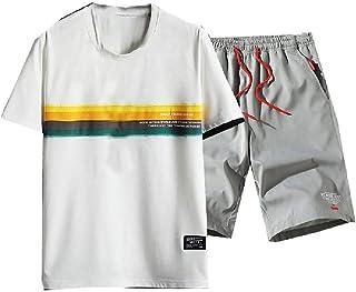 MogogN Men's Basic Cotton Summer Casual 2-Piece Sports Sport Sweat Suit Set