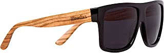 Zebra Wood Aviator Wrap Sunglasses with Black Polarized Lenses