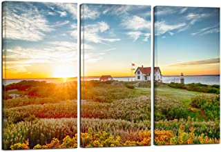 Nachic Wall - Large 3 Pieces Canvas Print Wall Art Portland Lighthouse at Sunrise Landscape Picture Painting Modern USA Scenery Artwork for Living Room Home Office Decor with Frame Ready to Hang